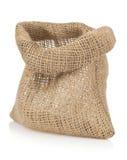 Empty burlap sack bag on white Stock Photo