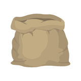 Empty burlap sack. Empty bag. Bag made of cloth. Beige Bag on Royalty Free Stock Photography