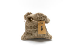 Empty burlap sack with money tag Royalty Free Stock Images