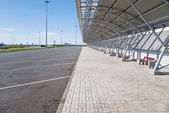 Empty bus parking place. In sea port Royalty Free Stock Images