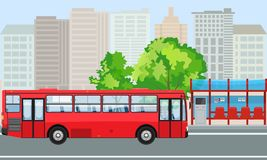 Empty Bus Stop and Bus with City Skyline Flat Design Style. Illustrated vector vector illustration