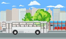 Empty Bus Stop and Bus with City Skyline Flat Design Style. Illustrated vector royalty free illustration