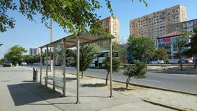 An empty bus stop in the city Royalty Free Stock Image