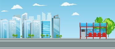 Empty Bus Stop with City Skyline Flat Design Style. Illustrated vector stock illustration