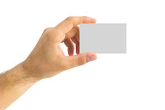 Empty business card in a human hand Royalty Free Stock Image