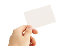 Empty business card in a human hand Royalty Free Stock Images