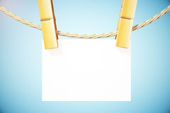 Empty business card. Empty white business card hanging on rope. Mock up, 3D Rendering Royalty Free Stock Photos