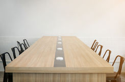 Empty business conference room before meeting in sunny office.  stock photography
