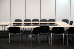 Empty business meeting room. Desk and chairs for decision making.  royalty free stock photos