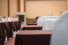 Empty business seminar hall of hotel room for asia people. Listen presentation,selective focus Royalty Free Stock Images