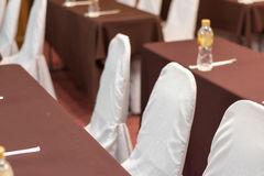 Empty business seminar hall of hotel room for asia people. Listen presentation,selective focus Stock Images