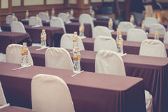 Empty business seminar hall of hotel room for asia people. Listen presentation,selective focus,vintage filter Stock Photos