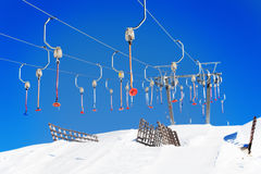 Empty button lifts of ski resort in wintertime Royalty Free Stock Photo