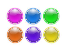 Empty buttons. Six colored round empty buttons Royalty Free Stock Images