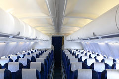 Empty cabin of airplane Stock Images