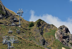 Empty cabins on a mountain slope Stock Image