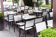 Empty cafe tables Royalty Free Stock Images