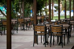 Empty cafe. In a tropical resort Royalty Free Stock Photos