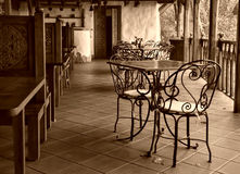 Empty cafe. End of summer season in outdoor cafe Royalty Free Stock Photos