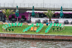 Empty cafe on the embankment in the center of Berlin's Spree. Stock Photos