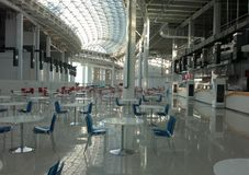 Empty cafe hall with many tables royalty free stock images
