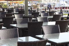 Empty cafe on harbor Stock Photos