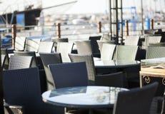 Empty cafe on harbor Royalty Free Stock Photo
