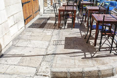 Empty cafe in Malta. On the street Royalty Free Stock Photos