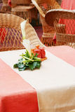 Empty cafe tables. With flowers Royalty Free Stock Photo