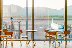 Empty cafe tables in the airport Stock Image