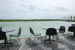 Empty cafe tables and chairs Royalty Free Stock Image