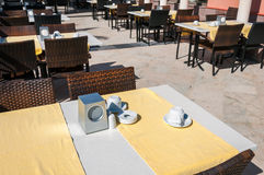 Empty cafe tables outdoors Stock Photos