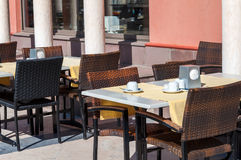 Empty cafe tables outdoors Royalty Free Stock Photo