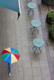 Empty cafe tables on a rainy day Royalty Free Stock Images