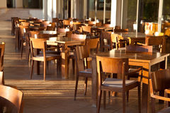 Empty Cafe terrace in hotel, Greece Stock Photos