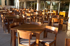 Empty Cafe terrace in hotel, Greece Royalty Free Stock Images