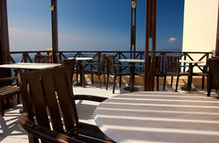 Empty Cafe: Thira, Greece. Stock Photography