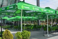 Empty cafe waits for visitors, Baku Royalty Free Stock Image