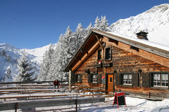 Empty cafe in winter mountains Stock Photography