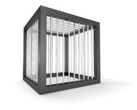 Empty cage cubic prison cage isolated. Heavy security prison. Steel cube secured with strong bars. Cage block to hold animal or monster. Cubic jail Stock Photos
