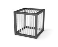 Empty cage miniature prison cage. Isolated prison with small cell secured with strong bars. Additional PNG format with transparent background mask is available Royalty Free Stock Images