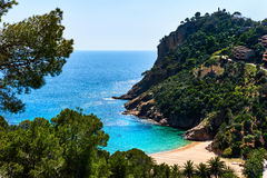 Empty Cala Giverola beach. Spain Stock Photography
