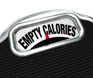 Empty Calories Word Scale Nutritional Vs Fast Food Eating. The words Empty Calories on the display of a scale to illustrate the importance of eating nutritional Stock Photo