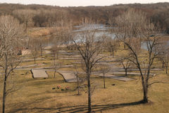 Empty Campground. Mid-March sunset on an empty campground, Coralville, Iowa stock photos