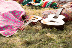 Empty campsite at music festival Stock Images
