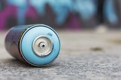 Empty can after painting. Urban culture stock photos
