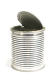 Empty can with open lid isolated on the white background Royalty Free Stock Photography