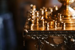 Empty Candela in the Orthodox Church close-up.  royalty free stock photography