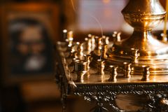 Empty Candela in the Orthodox Church close-up.  royalty free stock photos