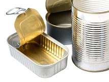 Empty cans. Selection of empty food cans Stock Photos